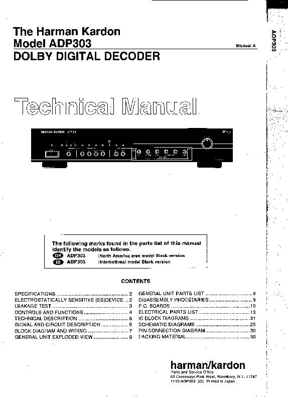 Harman Kardon Audio Service Manuals And Schematics