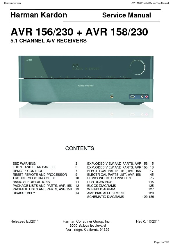 Harman Kardon AVR 158 (SERV.MAN4) Service Manual — View ...