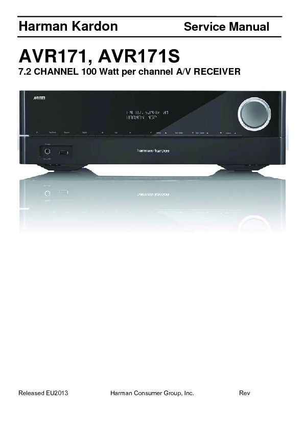 Harman Kardon Avr 171s Service Manual  U2014 View Online Or Download Repair Manual