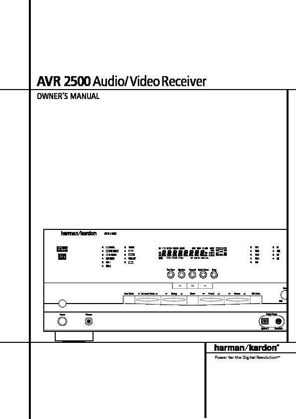 Harman Kardon Avr 2500  Serv Man5  User Guide    Operation