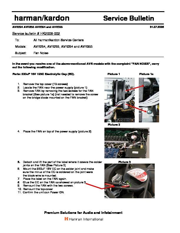 harman kardon avr 255 serv man5 technical bulletin view online rh servlib com Repair Manuals Parts Manual
