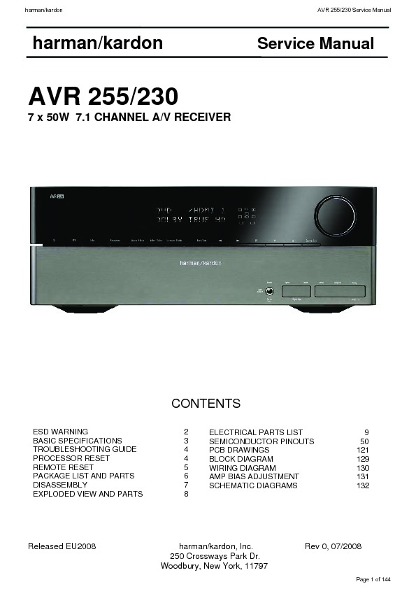 Harman Kardon AVR 25 Technical Bulletin — View online or
