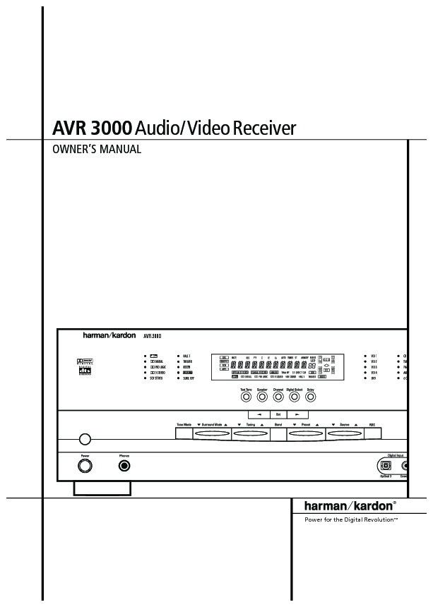 Harman Kardon Avr 3000  Serv Man10  User Guide    Operation