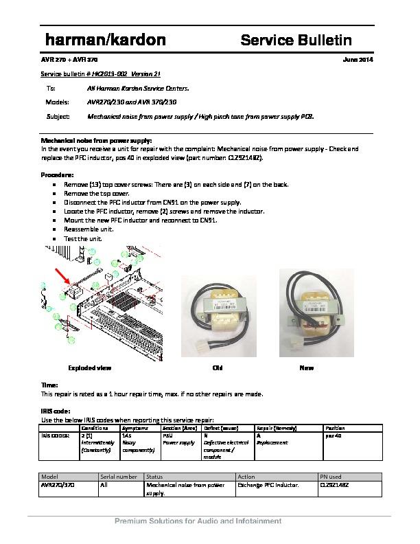 Harman Kardon AVR 370 (SERV MAN7) Technical Bulletin — View