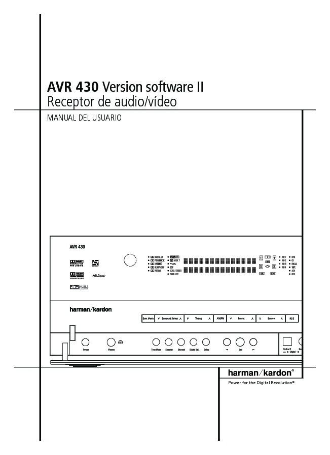 Harman Kardon Avr 430  Serv Man10  User Guide    Operation