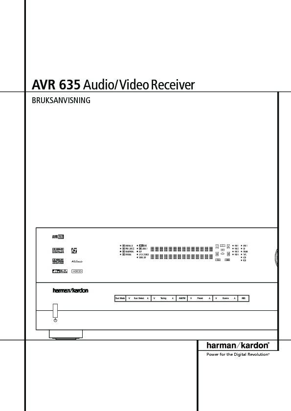harman kardon avr 635 serv man3 user guide operation manual rh servlib com Harman Kardon AVR 635 Review Harman Kardon AVR 635 Review