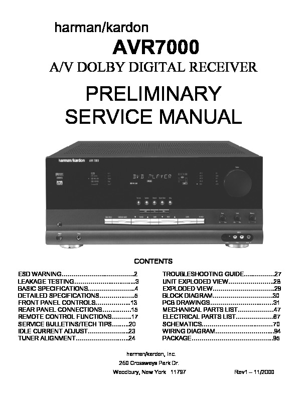 harman kardon avr 7000 service manual view online or download rh servlib com Service Station Manual Book