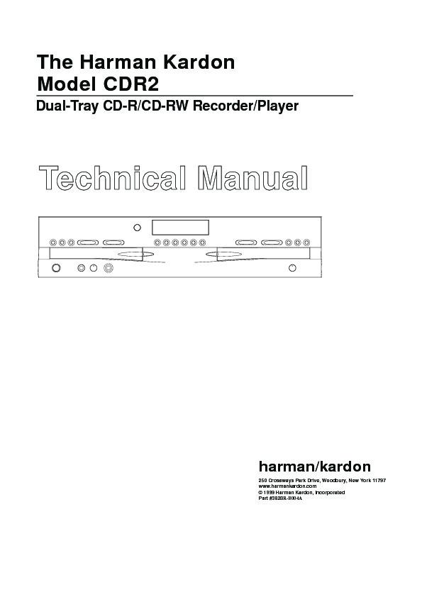 Harman Kardon CDR 2 (SERV.MAN18) Service Manual — View online or ...