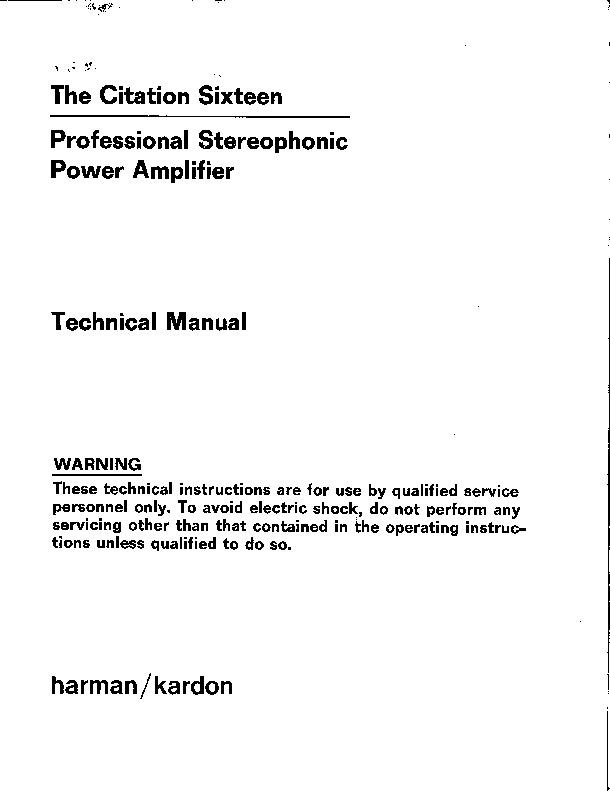 harman kardon citation sixteen service manual view online or rh servlib com Chicago Manual Style Citation Citation Checker