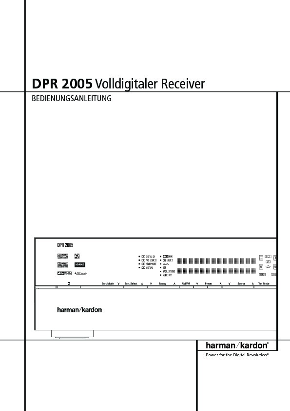 Harman Kardon Dpr 2005  Serv Man7  User Guide    Operation Manual  U2014 View Online Or Download
