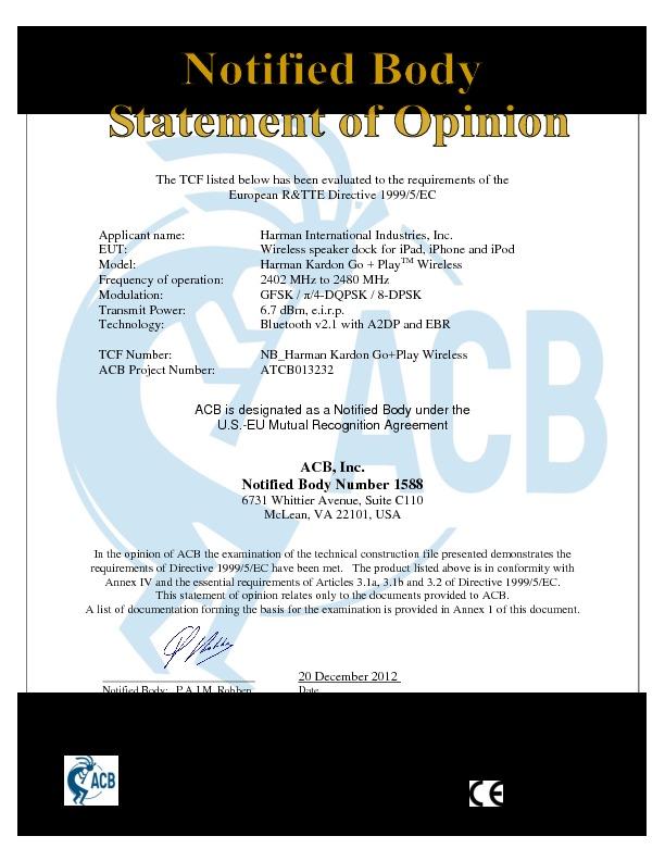 Harman Kardon Go Play Wireless Servn5 Emc Cb Certificate