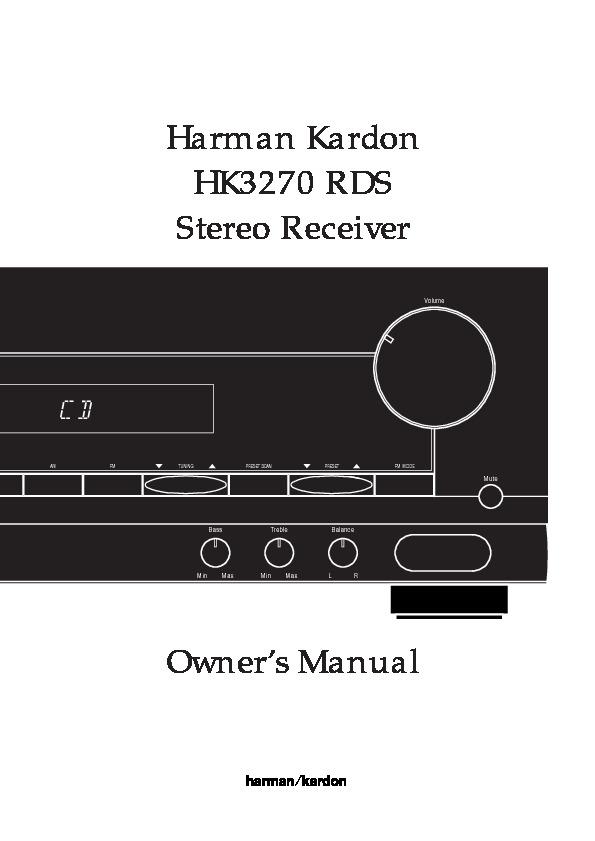 Harman Kardon Hk 3270  Serv Man4  User Guide    Operation