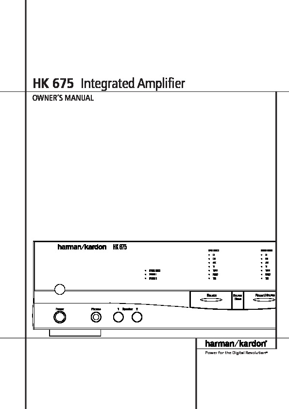 Harman Kardon Hk 675  Serv Man2  User Guide    Operation