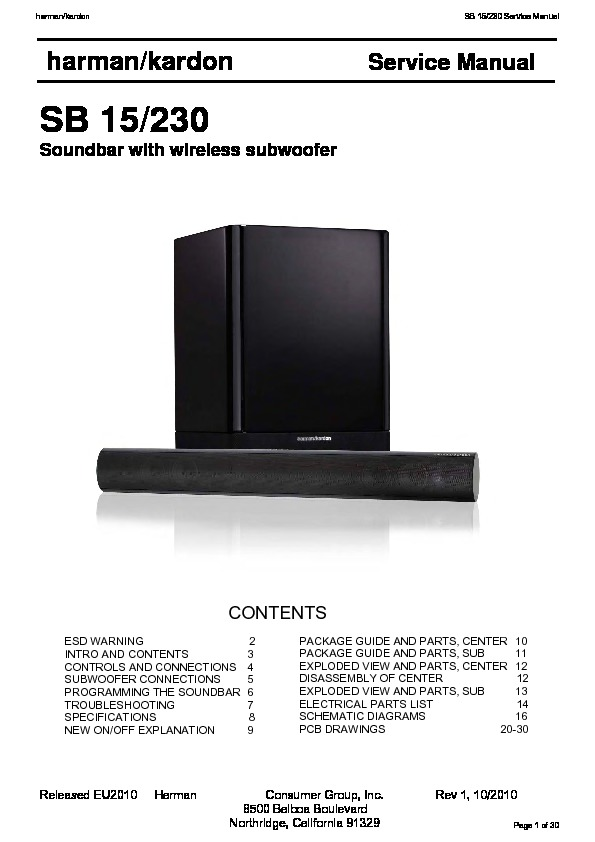 Harman Kardon SB 15 (SERV MAN5) Service Manual — View online or