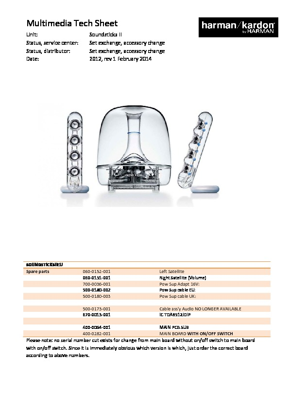 harman kardon soundsticks ii serv man9 service manual view rh servlib com Harman Kardon Wireless Speaker Harman Kardon Sticks