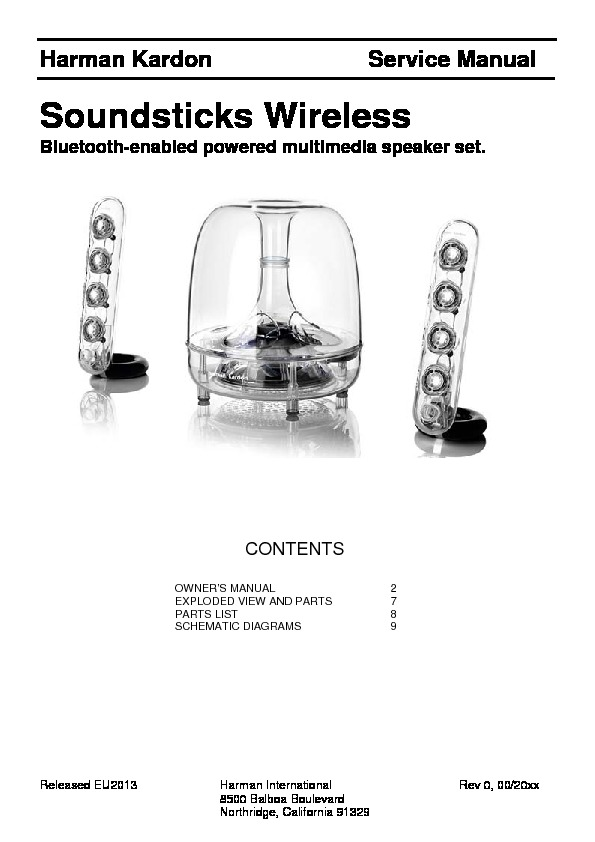 harman kardon soundsticks iii bt serv man5 service manual view rh servlib com Harman Kardon SoundSticks III 2.1 Harman Kardon SoundSticks Speakers