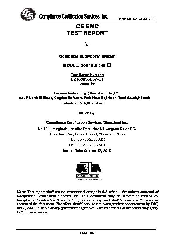 Harman Kardon SOUNDSTICKS II EMC - CB Certificate — View