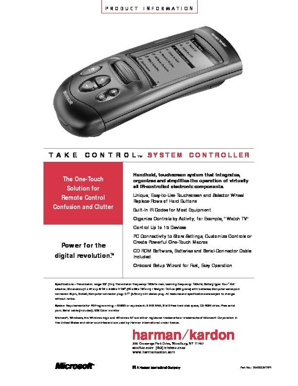 Harman Kardon TC 1000 TAKE CONTROL (SERV MAN8) Technical