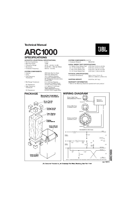 Jbl Arc 1000 Service Manual  U2014 View Online Or Download