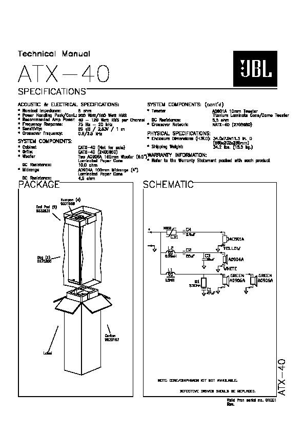 Jbl Atx 40 Service Manual  U2014 View Online Or Download Repair