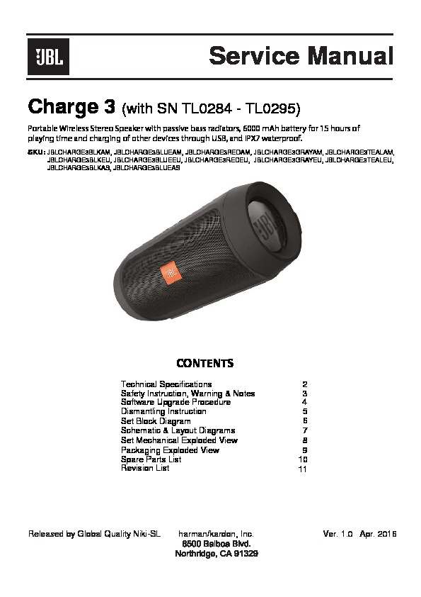 JBL CHARGE 3 service manual — Page 2