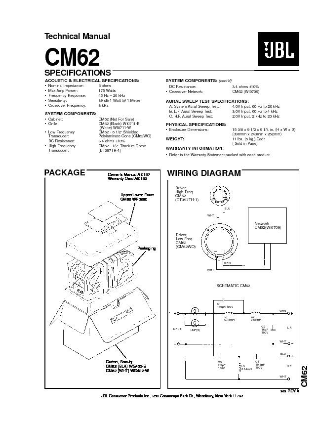 jbl cm 62 service manual view online or download repair. Black Bedroom Furniture Sets. Home Design Ideas