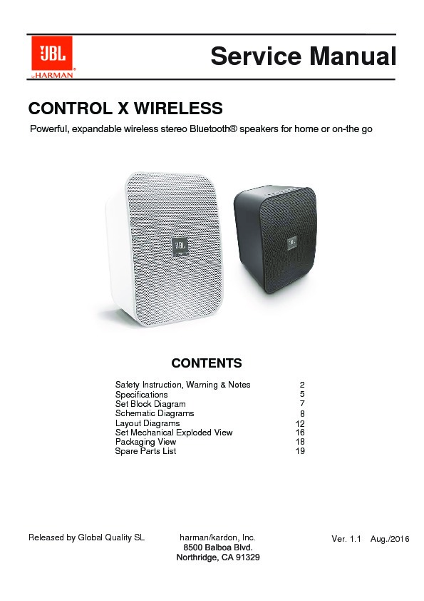 JBL CONTROL 1XTREME Service Manual — View online or Download