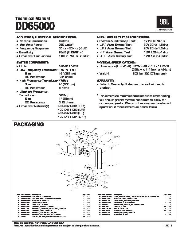 Jbl Dd65000 Service Manual  U2014 View Online Or Download