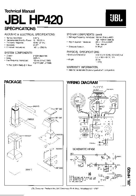 Jbl Hp 420 Service Manual  U2014 View Online Or Download Repair