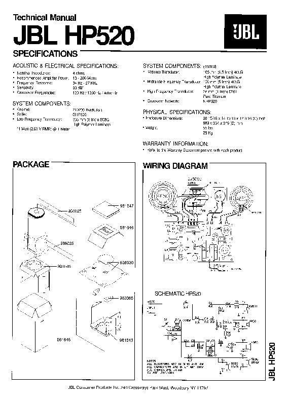 Jbl Hp 520 Service Manual  U2014 View Online Or Download Repair Manual