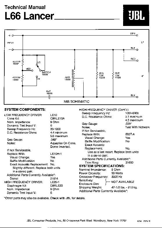 jbl l 77 lancer service manual view online or download repair manual