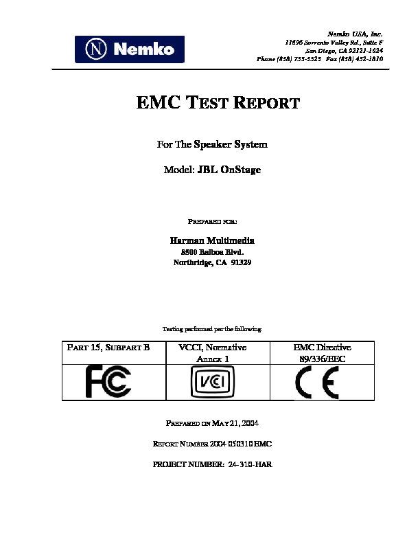 JBL ON STAGE (SERV MAN5) emc - cb certificate — Page 16