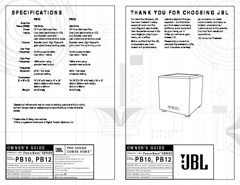 jbl pb 10 serv man2 user guide operation manual view online or rh servlib com