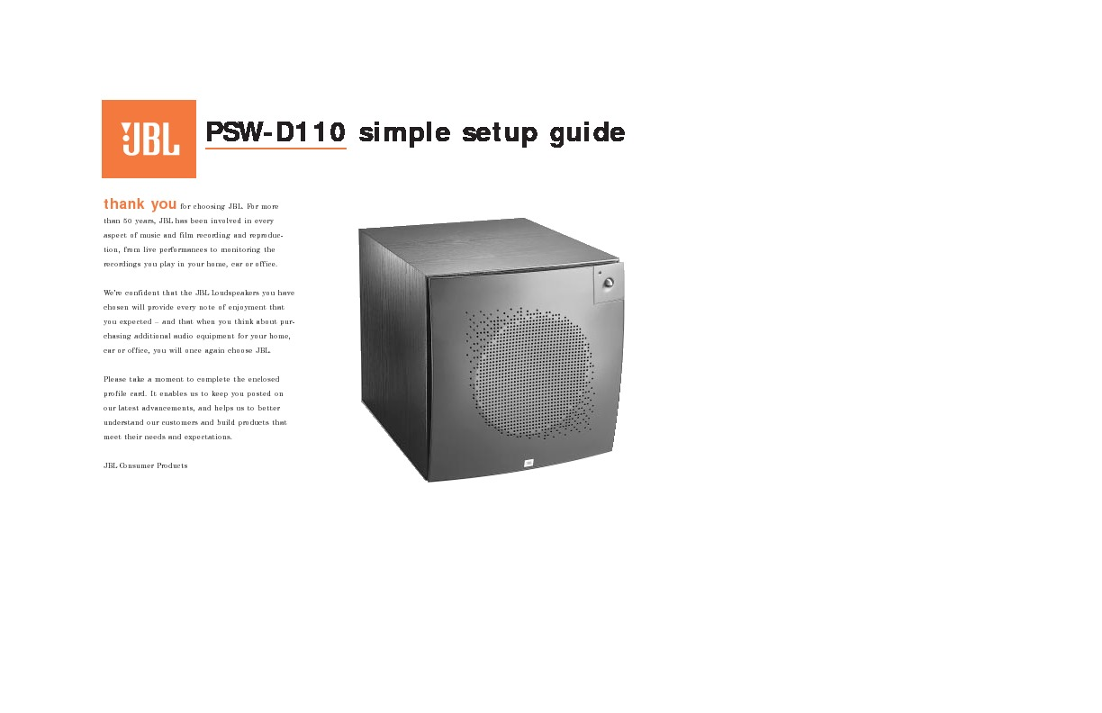 jbl psw d110 serv man2 user guide operation manual view online rh servlib com jbl psw-d110 service manual HP Photosmart D110 Ink
