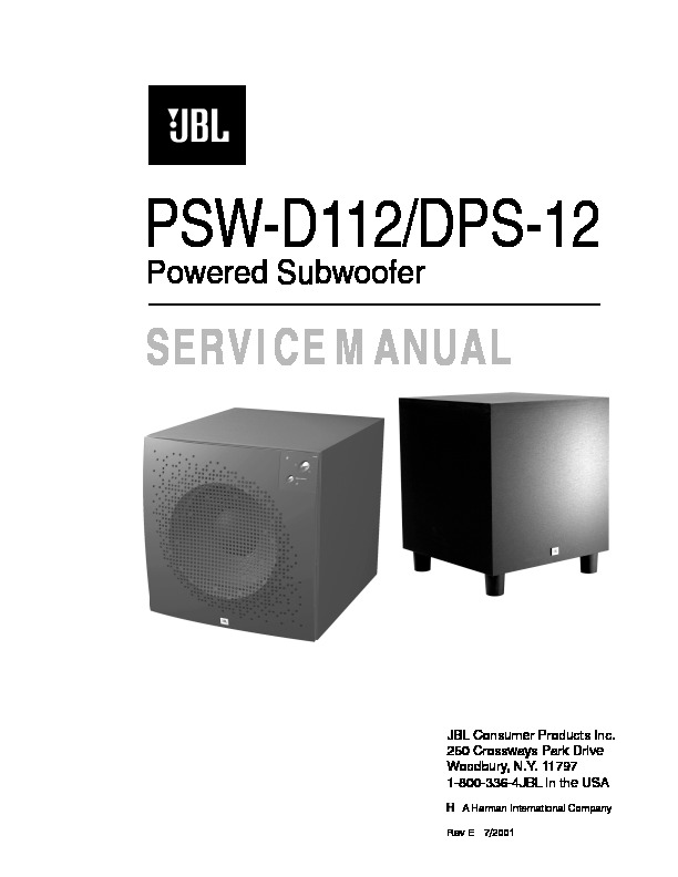jbl psw d112 serv man4 service manual view online or download rh servlib com Deere D110 D110 Specification