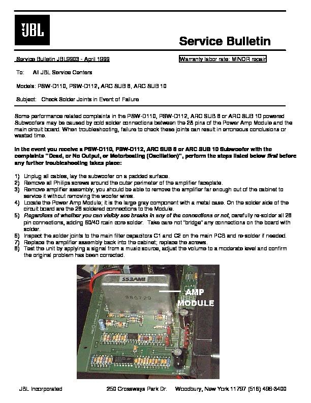 jbl psw d112 technical bulletin view online or download repair manual rh servlib com JBL PSW D112 Parts JBL PSW D112 Parts