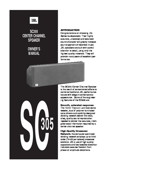 Jbl Sc 305  Serv Man2  User Guide    Operation Manual