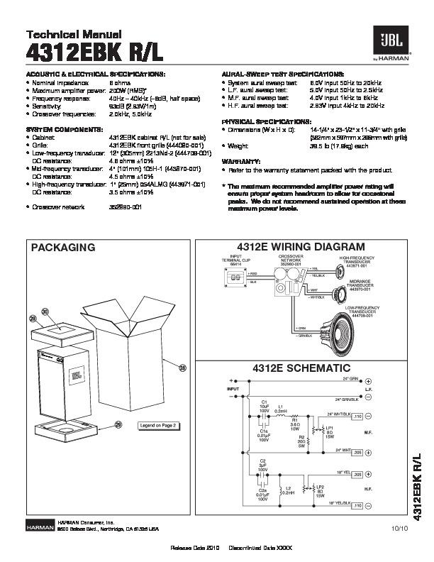 JBL STUDIO MONITOR 4312E Service Manual — View online or Download