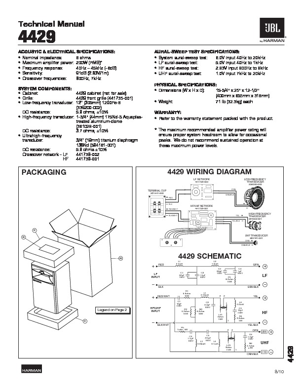 JBL STUDIO MONITOR 4312E Service Manual — View online or ... on