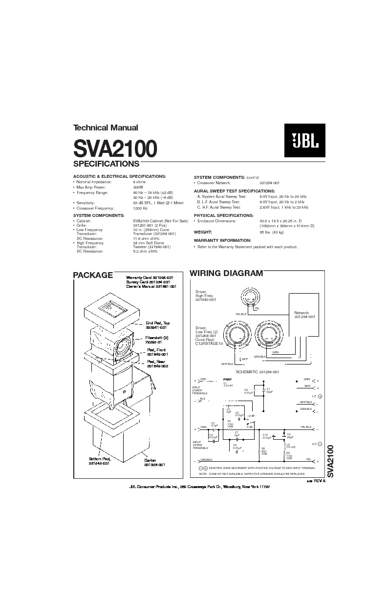 jbl sva 2100 service manual  u2014 view online or download repair manual