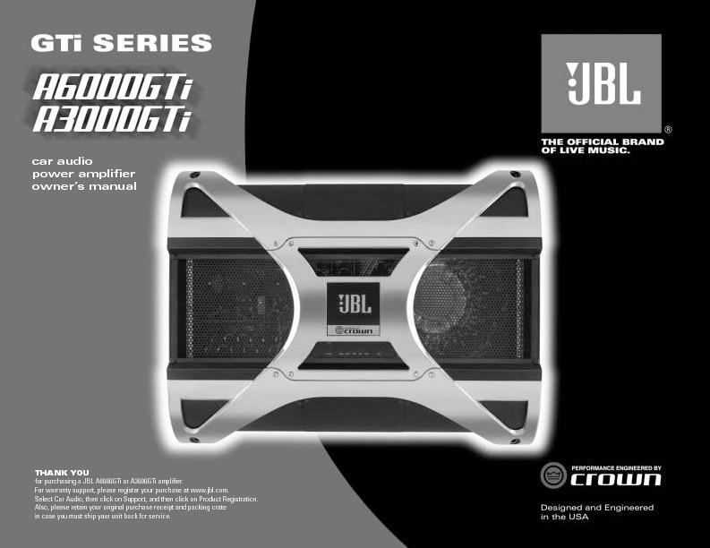 Jbl A3000gti  Serv Man5  User Guide    Operation Manual  U2014 Page 5
