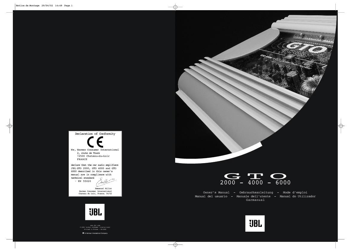 jbl gto 4000 serv man3 user guide operation manual view online rh servlib com 04 GTO White 04 GTO White