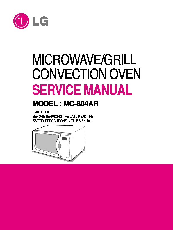 lg mc 804ar service manual view online or download repair manual rh servlib com lg microwave oven service manual pdf LG Microwave Front Venting To