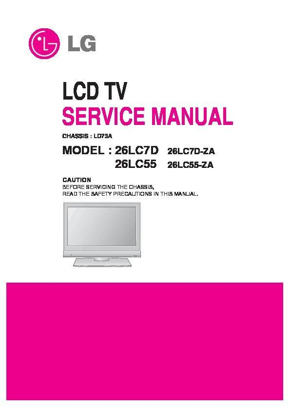 lg 26lc7d 26lc55 chassis ld73a service manual view online or rh servlib com LG Touch Phone Operating Manual LG Manuals PDF