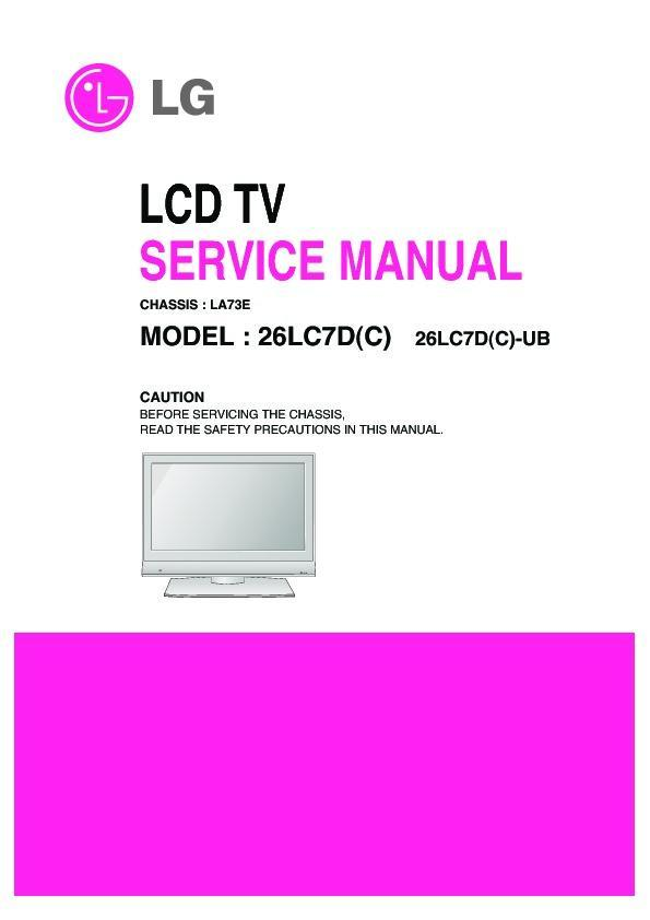 lg 26lc7d chassis la73e service manual view online or download rh servlib com LG Cell Phone Operating Manual LG Cell Phone Manuals