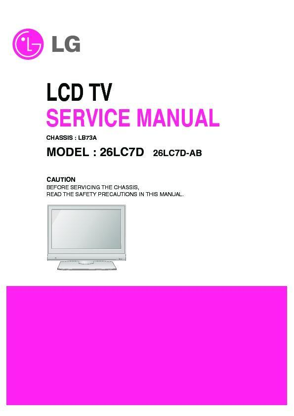 lg 26lc7d chassis lb73a service manual view online or download rh servlib com LG Cell Phone Manuals LG Cell Phone Operating Manual