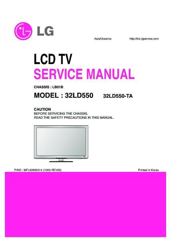 "lg 32ld550 chassis lb01b service manual view online or download rh servlib com LG 32"" TV Manual LG 32Ld550- Ub"
