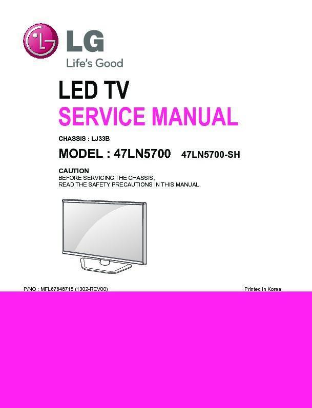 lg 47ln5700 chassis lj33b service manual view online or download rh servlib com service manual lg plasma tv owners manual lg v20
