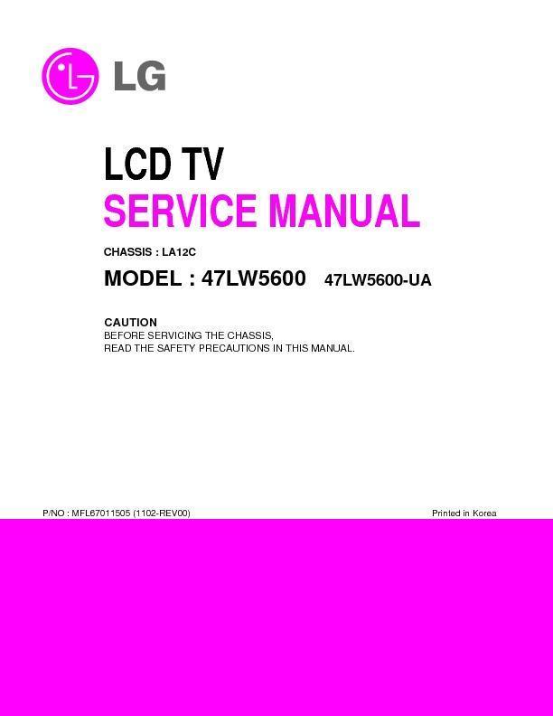 Lg 47lw5600 Chassis La12c Service Manual View Online Or Download Repair Manual