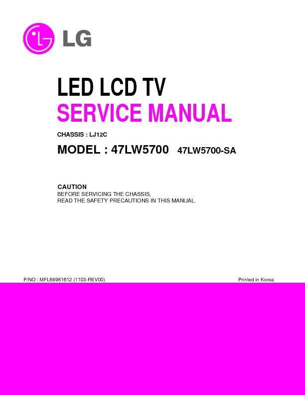lg 47lw5700 sa chassis lj12c service manual view online or rh servlib com LG 47LM7600 LG 47LM7600